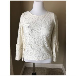 NWT Chico's Women's Ivory Laura Lace Top Shirt